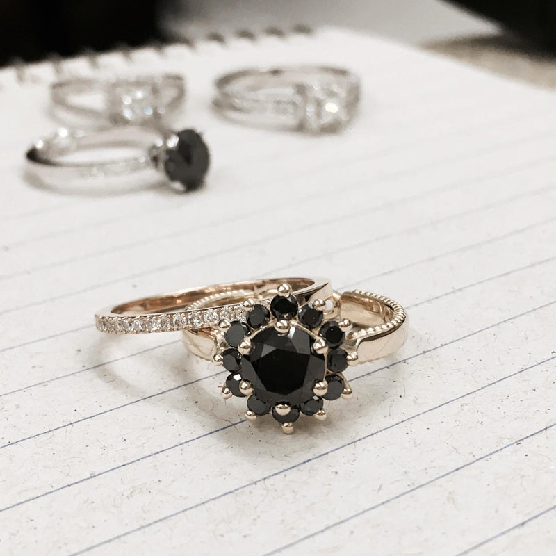 Stunning Engagement Ring, 'Black Swan' by DANA ARISH, 13 stones brilliant-cut natural Black Diamond center stone, 1.50 carat natural Black Diamonds shimmering halo on Gold Ring.