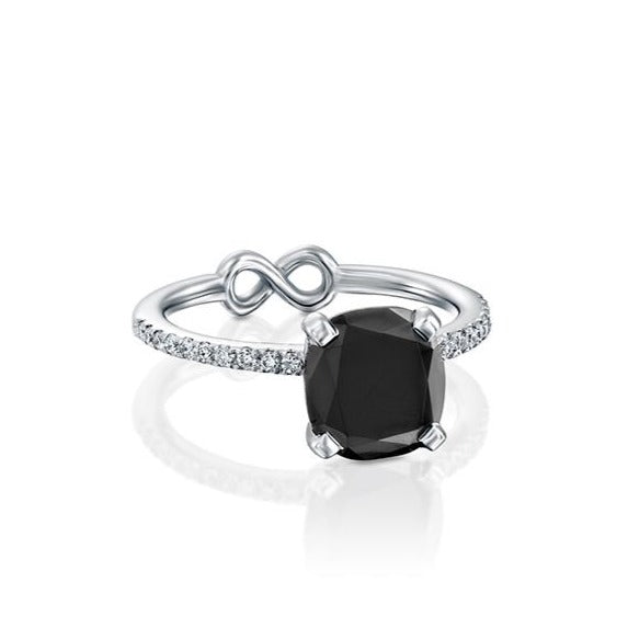 Black Lily Engagement Ring, Black Diamond Ring by DANA ARISH