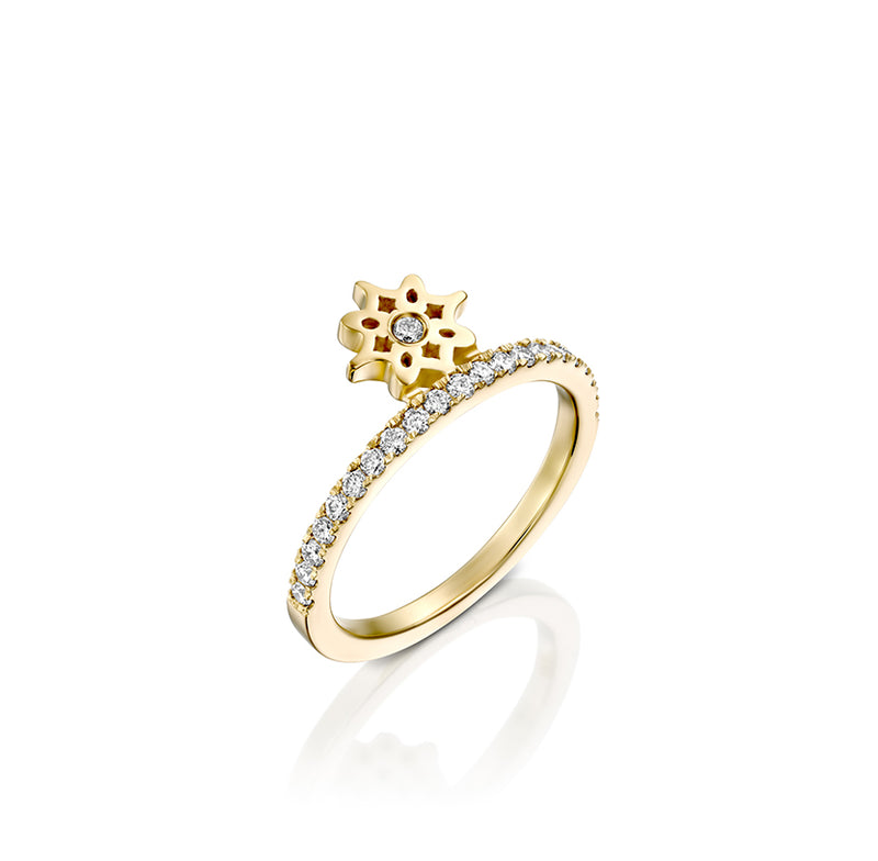 ARISH Mini Logo Ring, Brilliant Diamond & Gold Ring - DANA ARISH