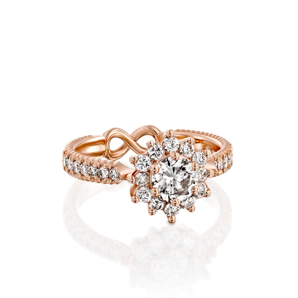 White Swan Engegmant Ring, Rose Gold & Diamond Engegmant Ring by DANA ARISH