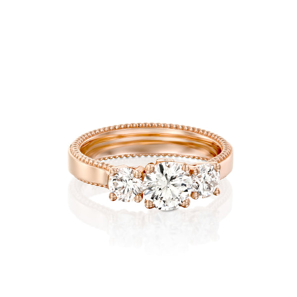 Winter Engegmant Ring, Three Stone Diamond & Rose Gold Engegmant Ring by DANA ARISH