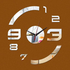3D Mirror Clock Wall Sticker - Wall Clock