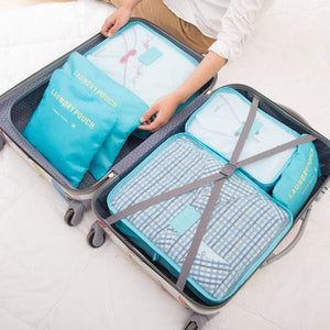 6 Piece Nylon Travel Bag System Packing Cube - 380430