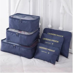 6 Piece Nylon Travel Bag System Packing Cube - deepblue - 380430