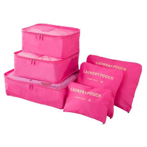 6 Piece Nylon Travel Bag System Packing Cube - rose red - 380430