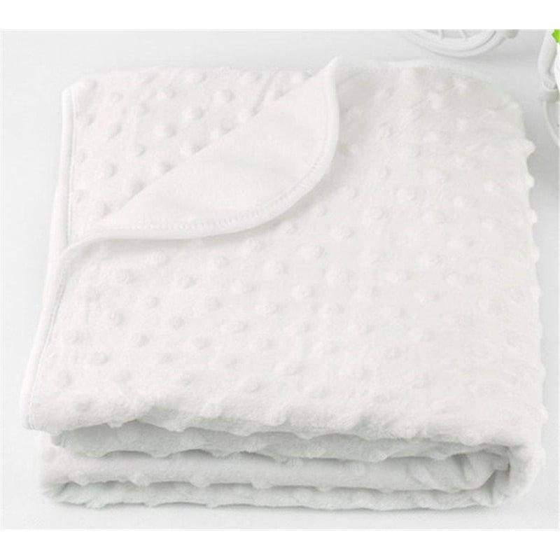 75Cm X 100Cm Fleece Newborn Baby Blanket - White - Bedding