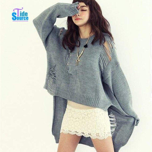 Asymmetrical Sweater Hollow Out - Cardigan