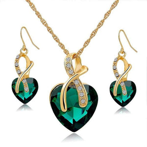 Austrian Crystal Luxury Jewelry Set - Gold Green - Jewelry set