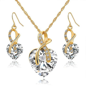 Austrian Crystal Luxury Jewelry Set - Gold White - Jewelry set