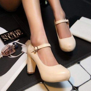 Buckle Round Toe Shoes - beige / 4 - shoes