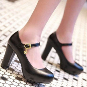 Buckle Round Toe Shoes - Black / 4 - shoes