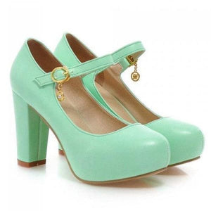 Buckle Round Toe Shoes - Green / 4 - shoes