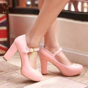 Buckle Round Toe Shoes - pink / 4 - shoes