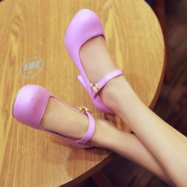 Buckle Round Toe Shoes - purple / 4 - shoes