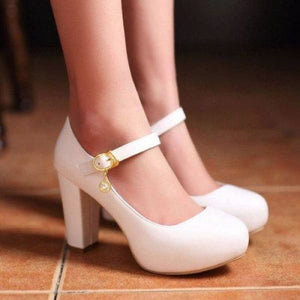 Buckle Round Toe Shoes - white / 4 - shoes