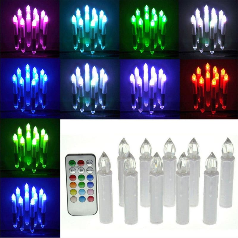 Candle 12 color change with Remote Control-10pcs/set - Electric Candles