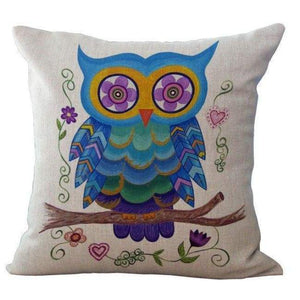 Cartoon Owl With Chevron Zigzag Pattern Pillow Cover - Blue Owl / 45X45Cm