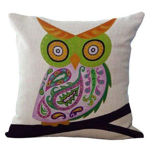 Cartoon Owl With Chevron Zigzag Pattern Pillow Cover - Green Owl / 45X45Cm