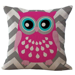 Cartoon Owl With Chevron Zigzag Pattern Pillow Cover - Grey Chevron / 45X45Cm