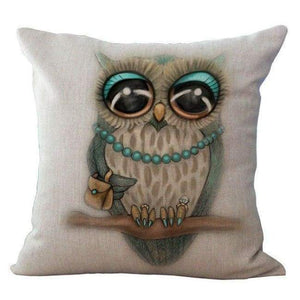 Cartoon Owl With Chevron Zigzag Pattern Pillow Cover - Hand Drawing Owl / 45X45Cm