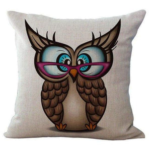 Cartoon Owl With Chevron Zigzag Pattern Pillow Cover - Khaki Owl / 45X45Cm