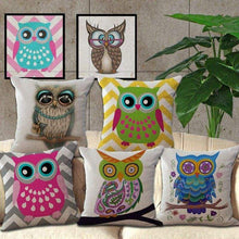 Load image into Gallery viewer, Cartoon Owl With Chevron Zigzag Pattern Pillow Cover