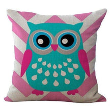 Load image into Gallery viewer, Cartoon Owl With Chevron Zigzag Pattern Pillow Cover - Pink Chevron / 45X45Cm