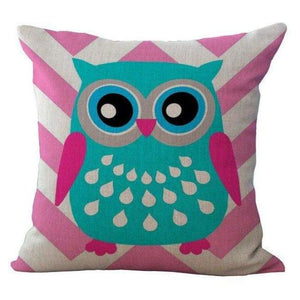 Cartoon Owl With Chevron Zigzag Pattern Pillow Cover - Pink Chevron / 45X45Cm