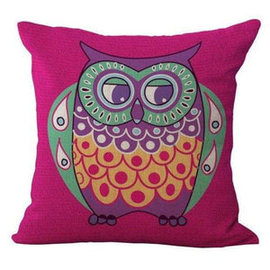 Cartoon Owl With Chevron Zigzag Pattern Pillow Cover - Rose Owl / 45X45Cm