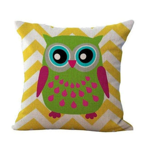Cartoon Owl With Chevron Zigzag Pattern Pillow Cover - Yellow Chevron / 45X45Cm