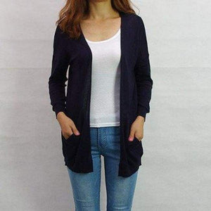 Casual Plus Size Cardigan - Dark Blue / Xxl - Cardigan