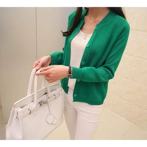 Casual Spring/autumn Cardigan - Green / S - Cardigan