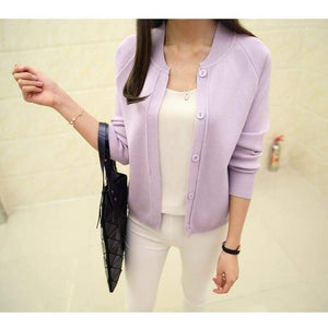 Casual Spring/autumn Cardigan - Purple / S - Cardigan