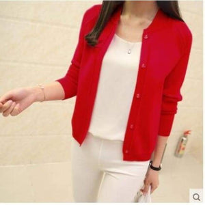 Casual Spring/autumn Cardigan - Red / S - Cardigan