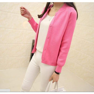 Casual Spring/autumn Cardigan - Rose Red / S - Cardigan