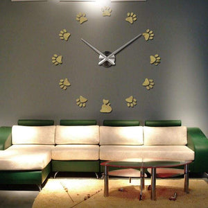 Cat Paw Print Mirrored Wall Clock - Home Decor