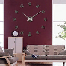 Load image into Gallery viewer, Cat Paw Print Mirrored Wall Clock - Home Decor