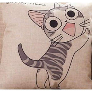 Cat Printed Cotton Cushion - Climb / No Filling - Pillow Case