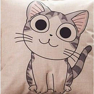 Cat Printed Cotton Cushion - Cute / No Filling - Pillow Case