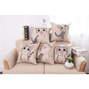Cat Printed Cotton Cushion - Pillow Case