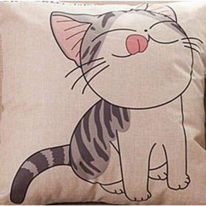 Cat Printed Cotton Cushion - Lick / No Filling - Pillow Case