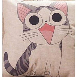 Cat Printed Cotton Cushion - Miaow / No Filling - Pillow Case