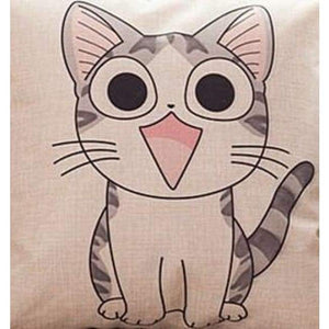 Cat Printed Cotton Cushion - Stare / No Filling - Pillow Case