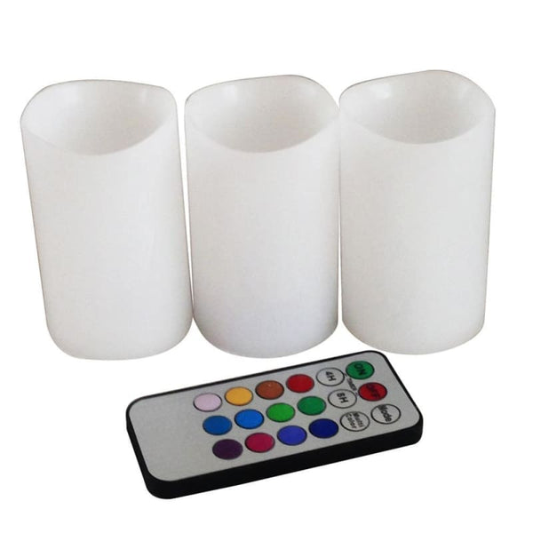 Colorful Changing Color LED Flickering Flameless Candles with 18 key Remote Controller - Electric Candles