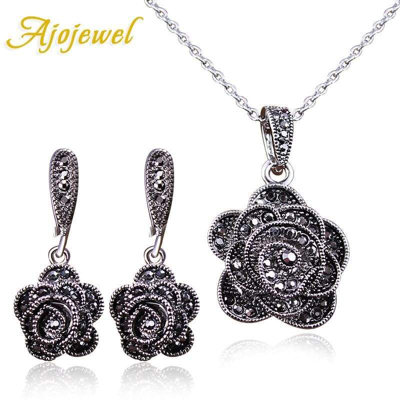 Crystal Rose Flower Vintage Jewelry Set - Jewelry Set