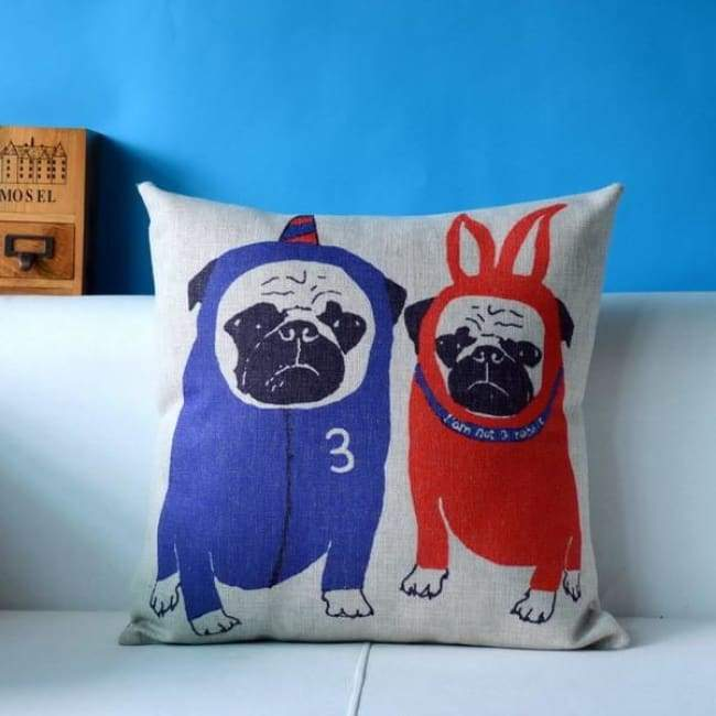 Cute Pug Pillowcase 45*45 - Pug Brother / 45X45Cm - Pillowcase