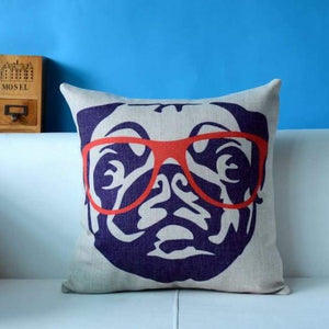 Cute Pug Pillowcase 45*45 - Pug With Glass / 45X45Cm - Pillowcase