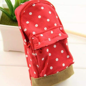 Dot Fabric Pencil Case - Red - Pencil Case