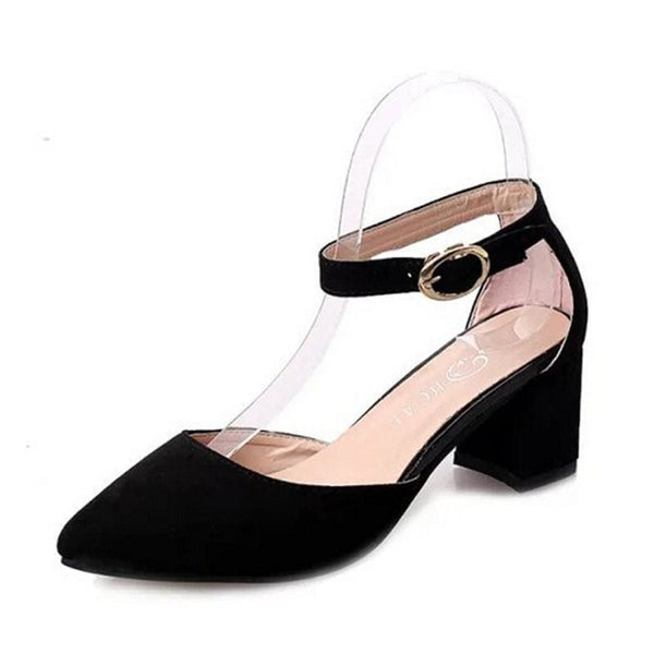 Elegant Ladies Buckle Strap Shoes - black / 5 - shoes