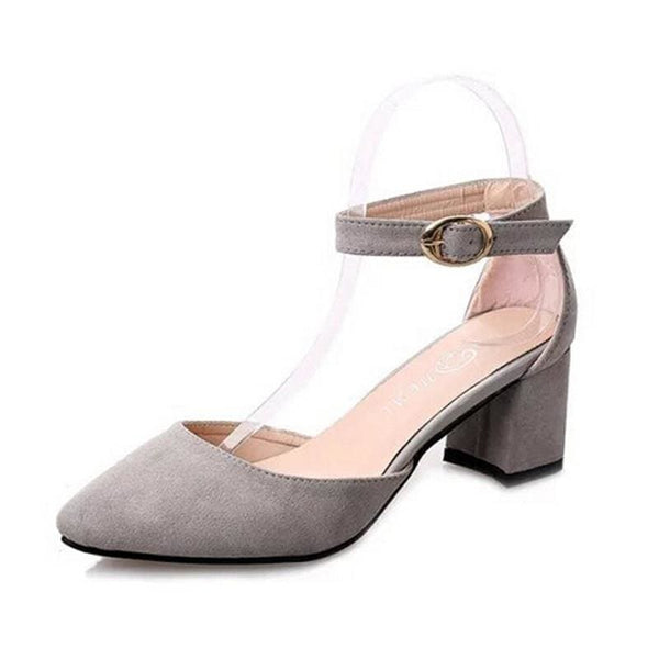 Elegant Ladies Buckle Strap Shoes - grey / 5 - shoes